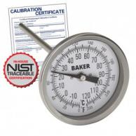 Baker T3006-250 Bimetal Thermometer 0 to 250F (-20 to 120C) with NIST Traceable Certificate